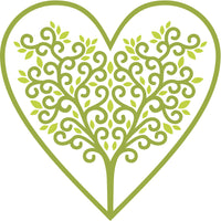 Lime Green Branched Tree and Leaves in Heart Vinyl Decal Sticker