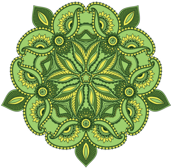 Lime Green Paisley Mandala Flower Icon Vinyl Decal Sticker