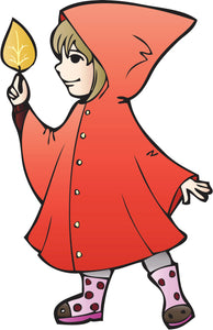 Little Red Riding Hood Raincoat in Fall Vinyl Decal Sticker