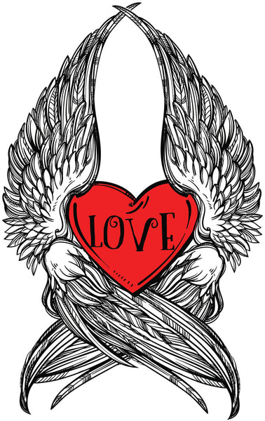 Love Red Heart Sketch with Wings Vinyl Decal Sticker