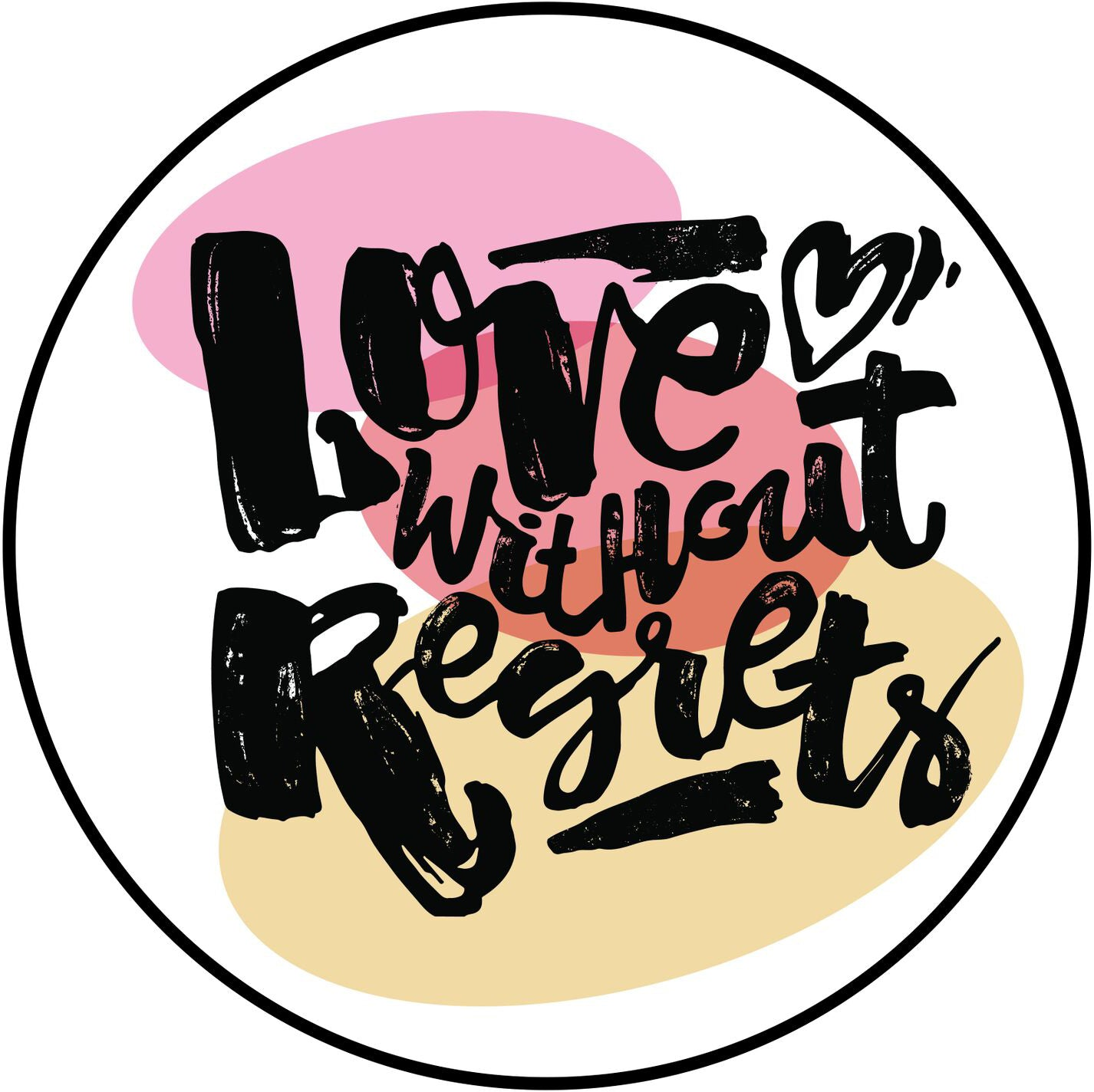 Love Without Regrets Sketch Calligraphy Icon Border Around Image As Shown Vinyl Sticker