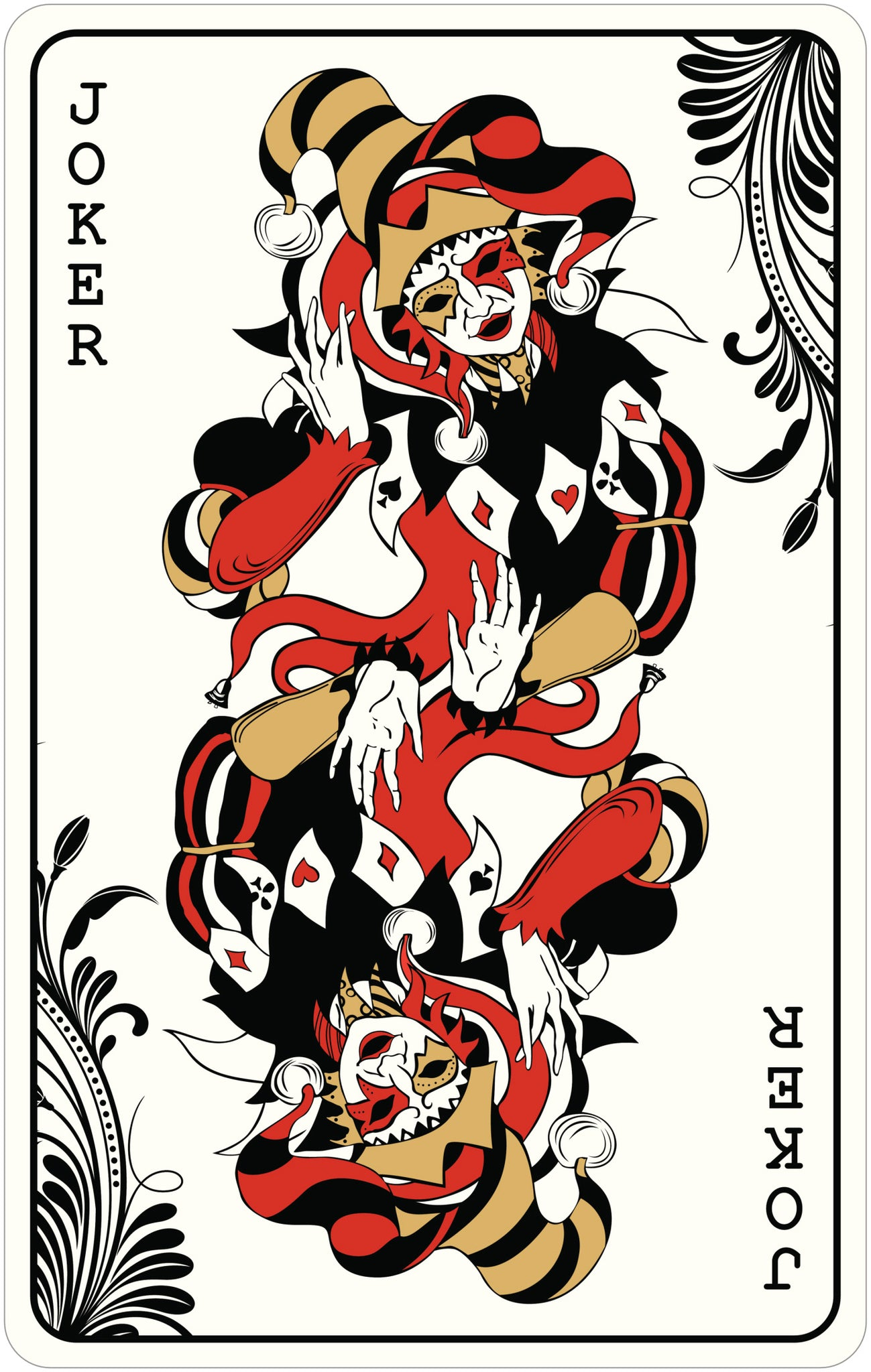 MEDIEVAL JOKER PLAYING CARD SPADE DIAMOND HEART CLUB GOLD BLACK RED WHITE Vinyl Decal Sticker
