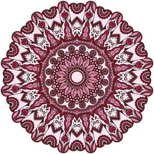 Maroon Feather Tribal Mandala Flower Icon Vinyl Decal Sticker