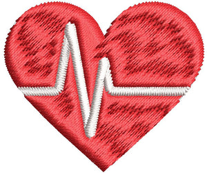 Iron on / Sew On Patch Applique Medical EKG ECG Reading Outline in Red Heart Embroidered Design