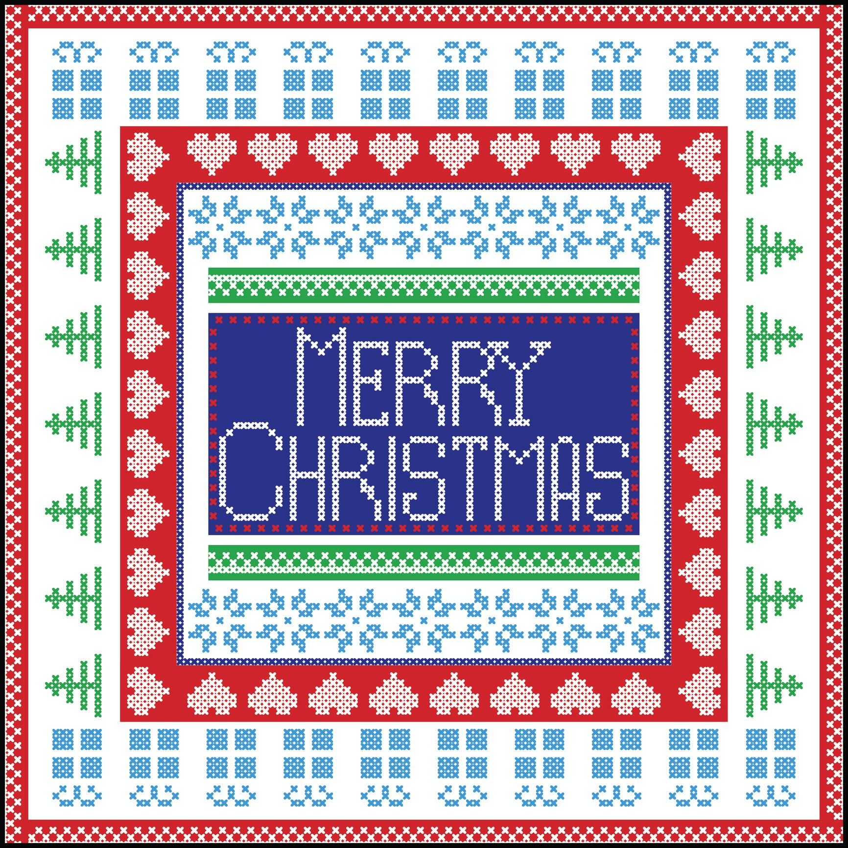 Merry Christmas Cross Stitch Quilt Square Border Around Image As Shown Vinyl Sticker