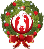 Merry Christmas Holiday Wreath with Jesus in Manger Vinyl Decal Sticker