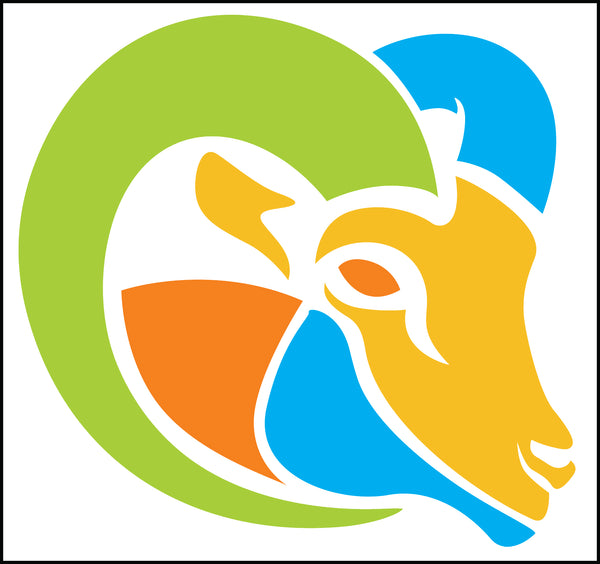 Mulicolor Big Horn Sheep Ram Cartoon Icon Logo Border Around Image As Shown Vinyl Sticker