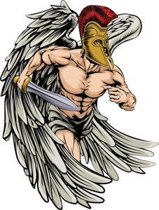 Muscular Roman Trojan Soilder with Golden Armor Cartoon Sketch #3 Vinyl Decal Sticker