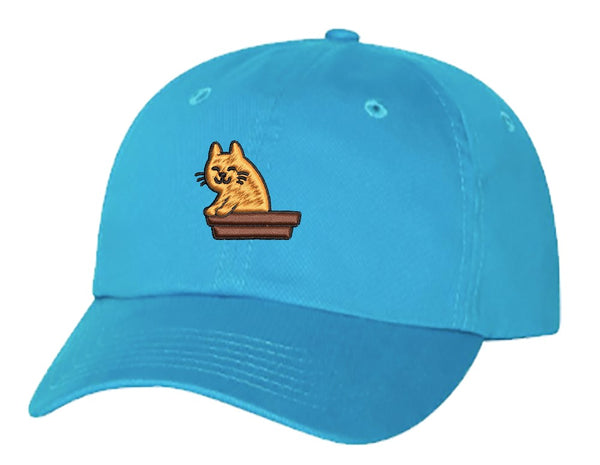Unisex Adult Washed Dad Hat Happy Orange Kitty Cat in Litter Box Embroidery Sketch Design