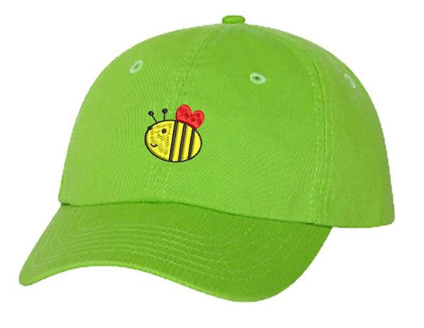 Unisex Adult Washed Dad Hat Pretty Delicate Pastel Spring Elements Bumble Bee Embroidery Sketch Design
