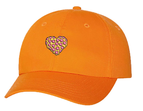 Unisex Adult Washed Dad Hat Pepperoni Cheese Pizza Melting Heart Cartoon Embroidery Sketch Design