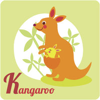 Nursery Kindergarten Alphabet Animal Tiles - K Kangaroo Vinyl Decal Sticker
