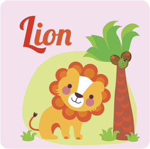 Nursery Kindergarten Alphabet Animal Tiles - L Lion Vinyl Decal Sticker
