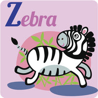 Nursery Kindergarten Alphabet Animal Tiles - Z Zebra Vinyl Decal Sticker