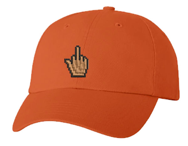 Unisex Adult Washed Dad Hat Pixelated Middle Finger Mouse Cursor Icon 1 Embroidery Sketch Design