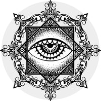 Ornate Vintage Hipster Freemason Eye Icon Vinyl Decal Sticker