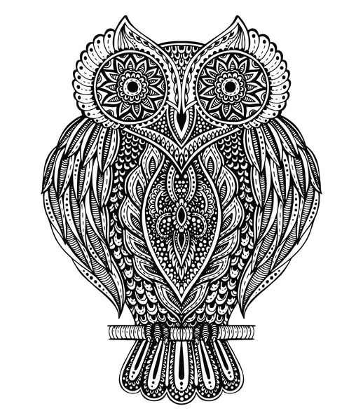 Owl with Tribal Print Feathers Vinyl Decal Sticker