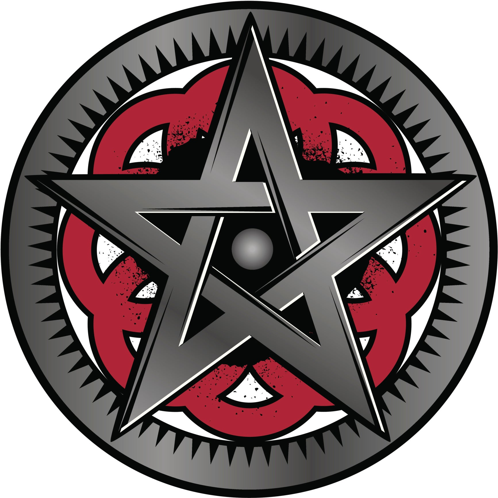 PENTAGRAM STAR CREST GREY BLACK RED WHITE Vinyl Decal Sticker