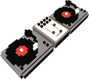 PIXELATED DOUBLE DJ VINYL RECORD TURNTABLE BLACK GREY RED WHITE Vinyl Decal Sticker
