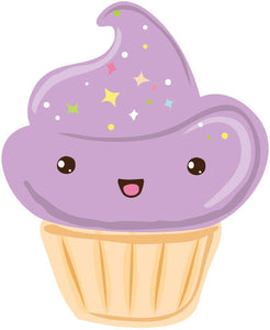 Pastel Kawaii Dessert Emoji - Purple Cupcake Vinyl Decal Sticker