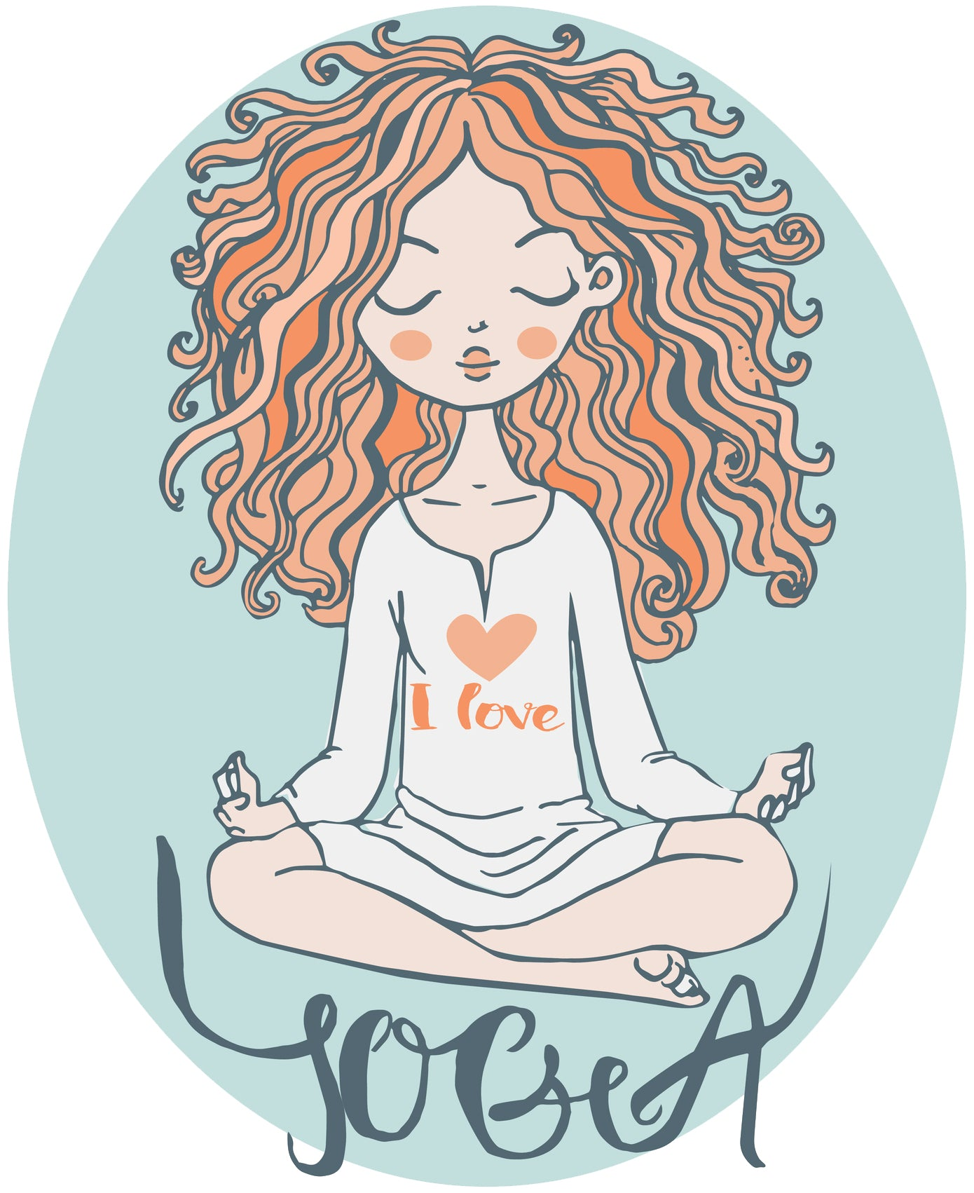 Peaceful Zen Yoga Yogi Girl Cartoon Icon Vinyl Decal Sticker