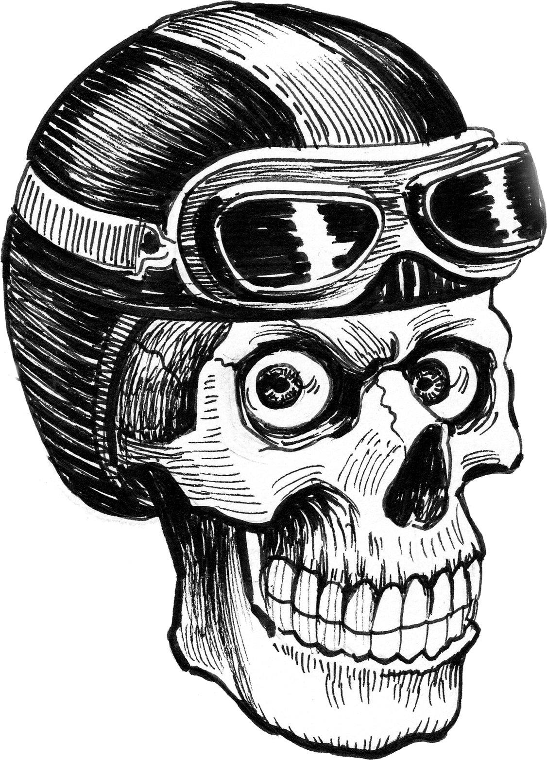 Pen Sketch Biker Pilot Skull with Helmet and Goggles Cartoon Vinyl Decal Sticker