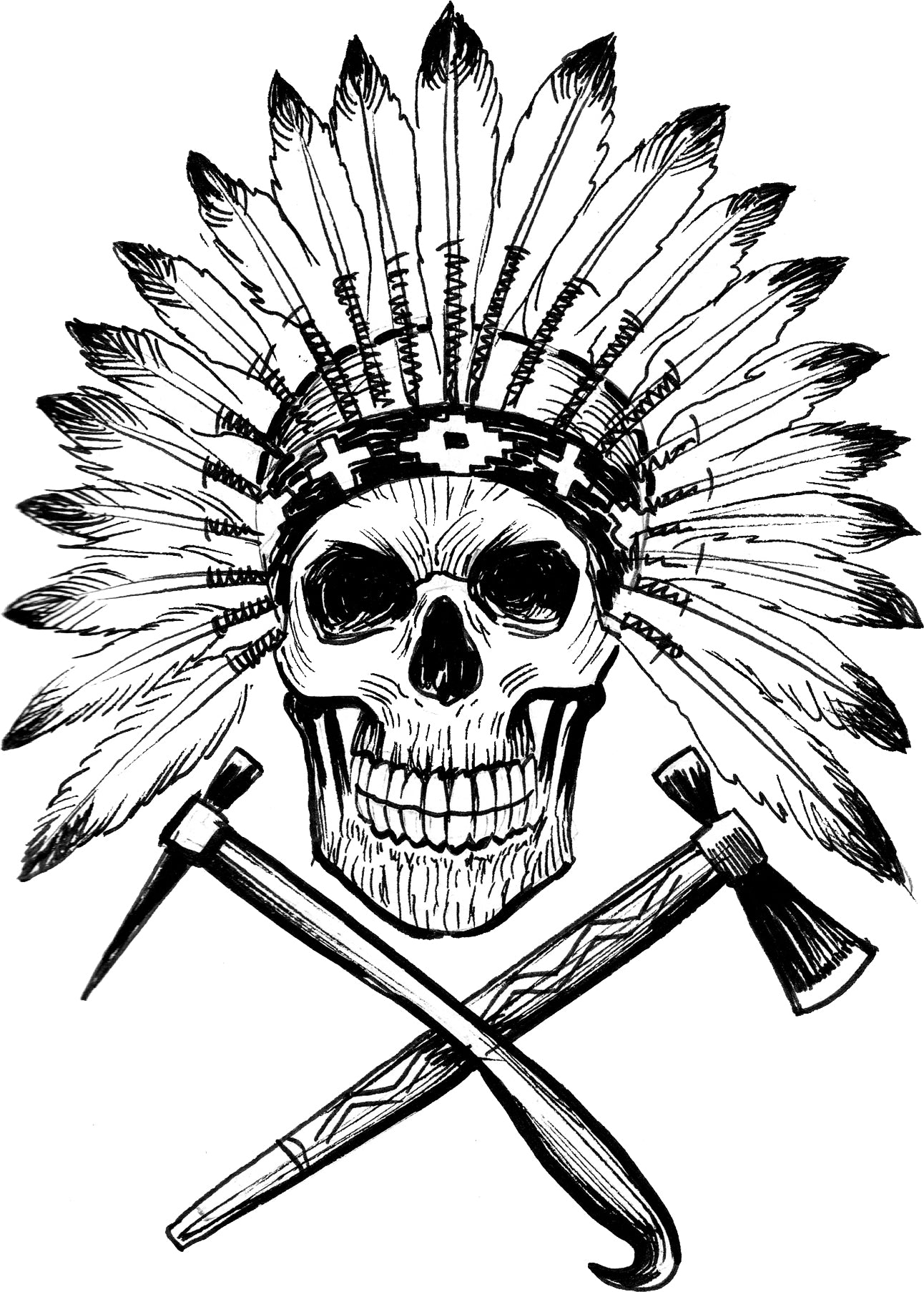 Pen Sketch Black and White Skull with Feather Headdress Art Vinyl Decal Sticker