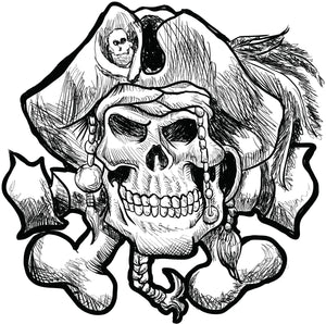 Pen Sketch Pirate Skull and Crossbones Cartoon Vinyl Decal Sticker
