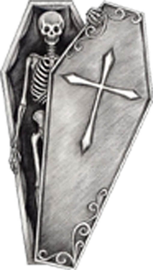 Pencil Sketch Skeleton in Coffin Vinyl Decal Sticker