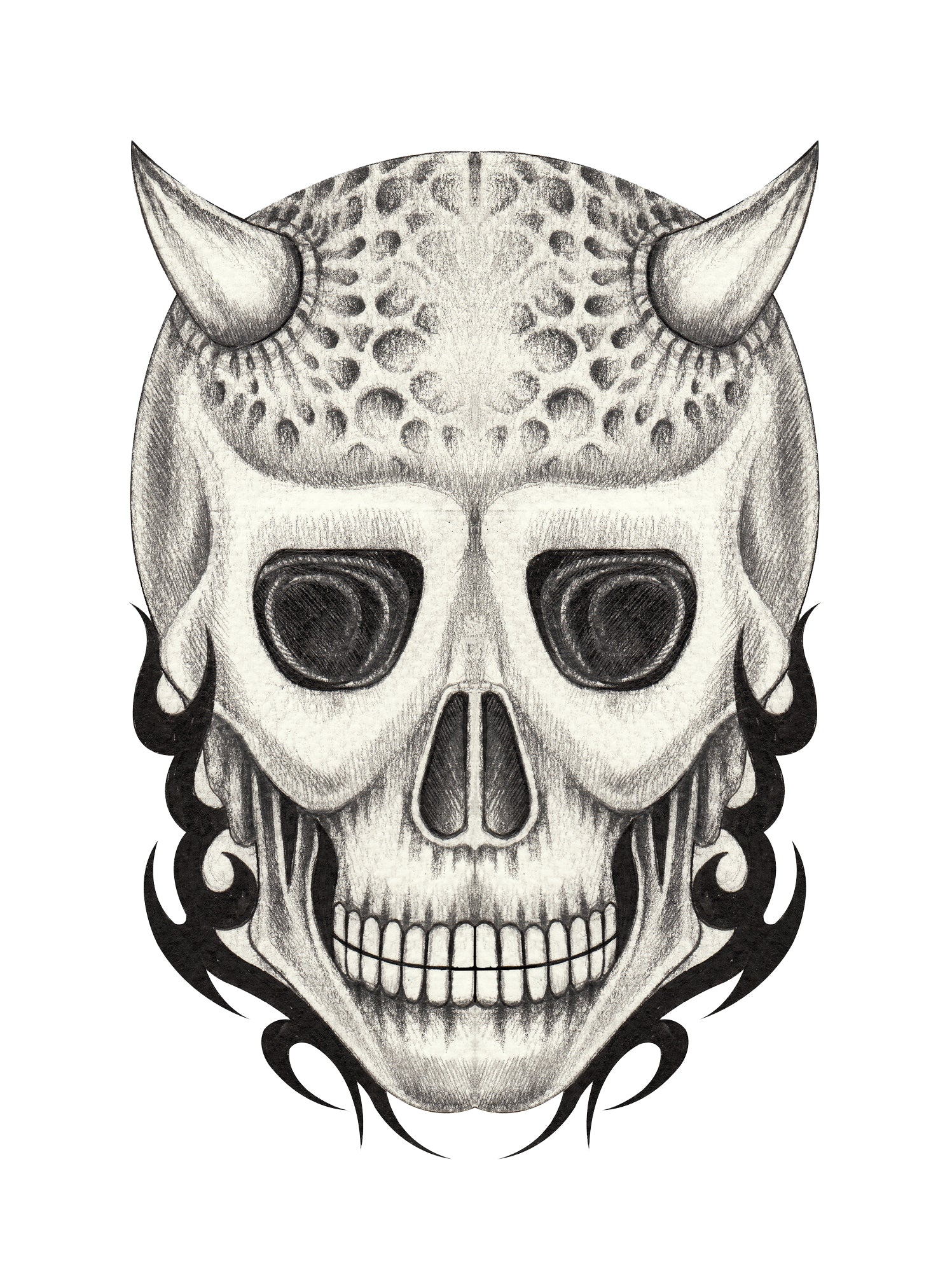 Pencil Sketch Devil Skull with Horns Vinyl Decal Sticker