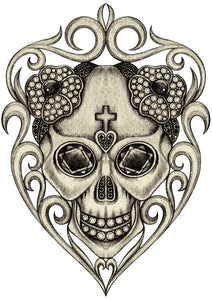Pencil Sketch Dia de los Muertos Jeweled Flower Skull #1 Vinyl Decal Sticker