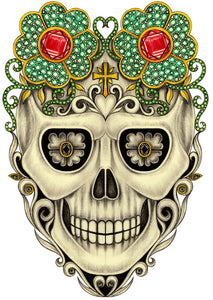 Pencil Sketch Dia de los Muertos Jeweled Flower Skull #2 Vinyl Decal Sticker