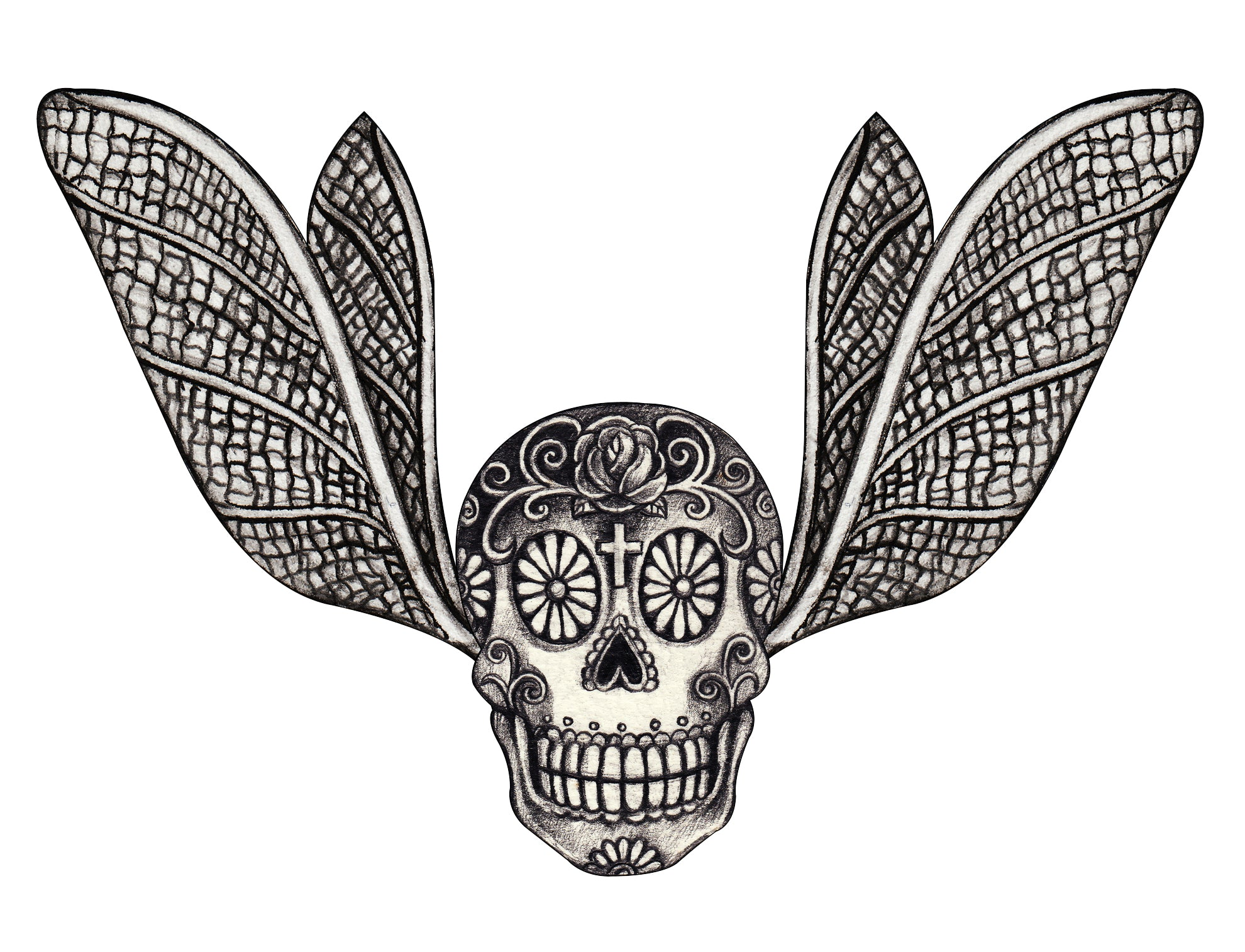 Pencil Sketch Dia de los Muertos Skull with Moth Wings Vinyl Decal Sticker