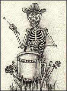 Pencil Sketch Drummer Skeleton with Cowboy Hat Portrait Vinyl Decal Sticker