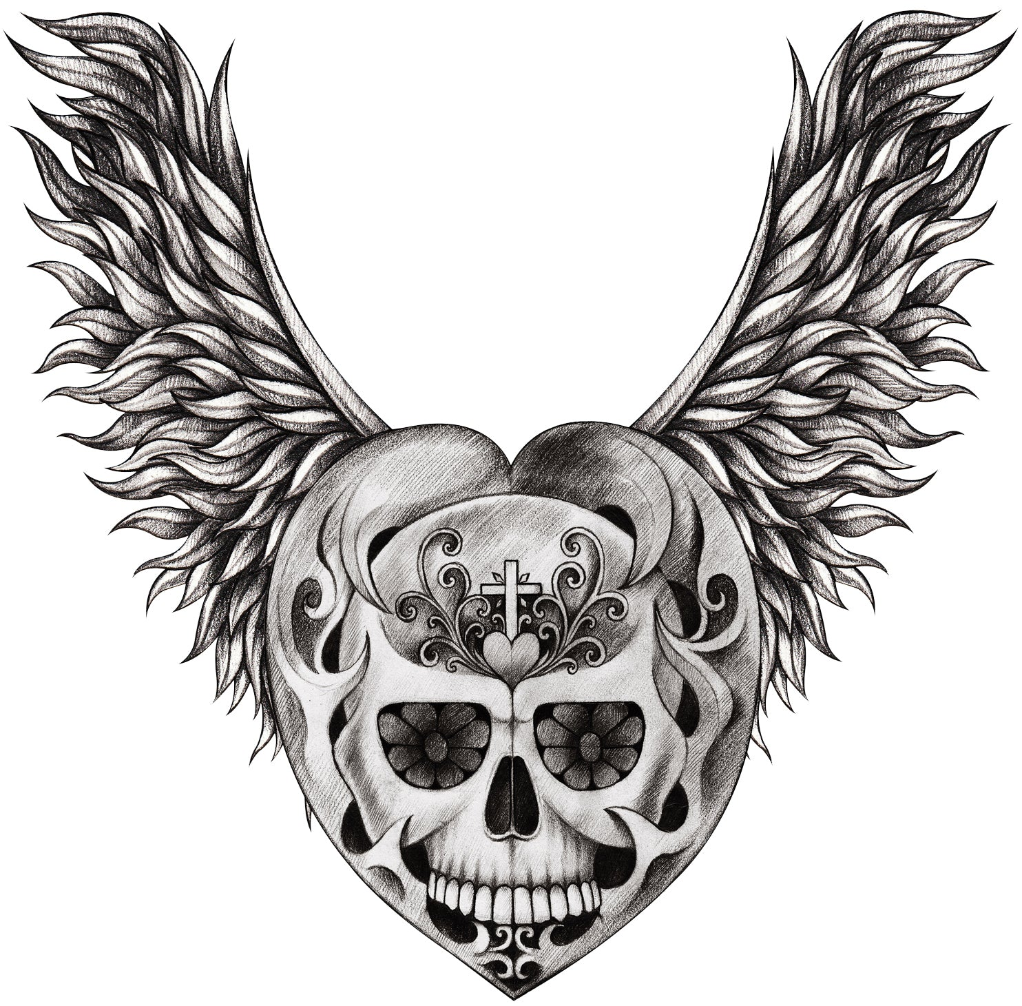 Pencil Sketch Floral Cross Heart Skull with Leaf Wings Vinyl Decal Sticker