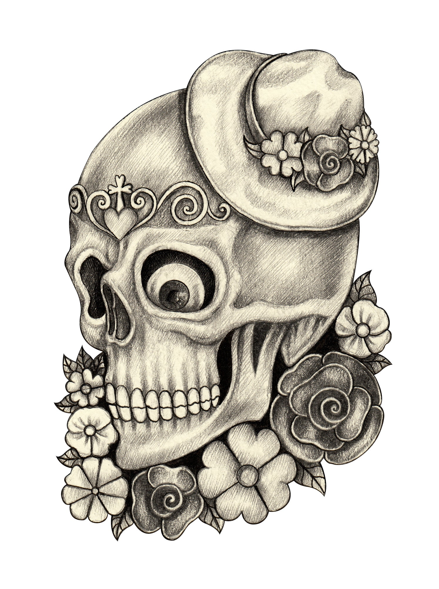 Pencil Sketch Floral Dia de los Muertos Skull with Hat #2 Vinyl Decal Sticker