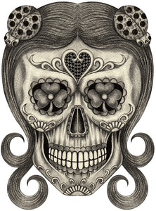 Pencil Sketch Floral Dia de los Muertos Skull with Lady Bug Pins Vinyl Decal Sticker