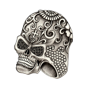 Pencil Sketch Floral Skull Ring Vinyl Decal Sticker