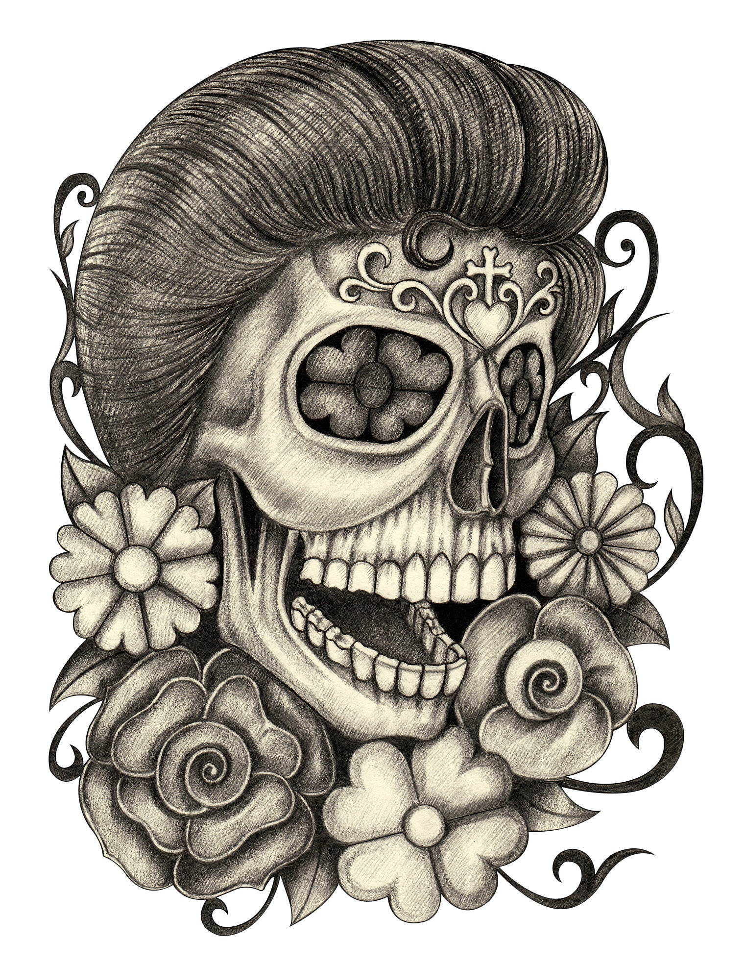 Pencil Sketch Floral Skull with Flowers and Swirls Vinyl Decal Sticker
