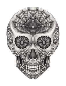 Pencil Sketch Floral Swirl Skull with Spider Web #1 Vinyl Decal Sticker