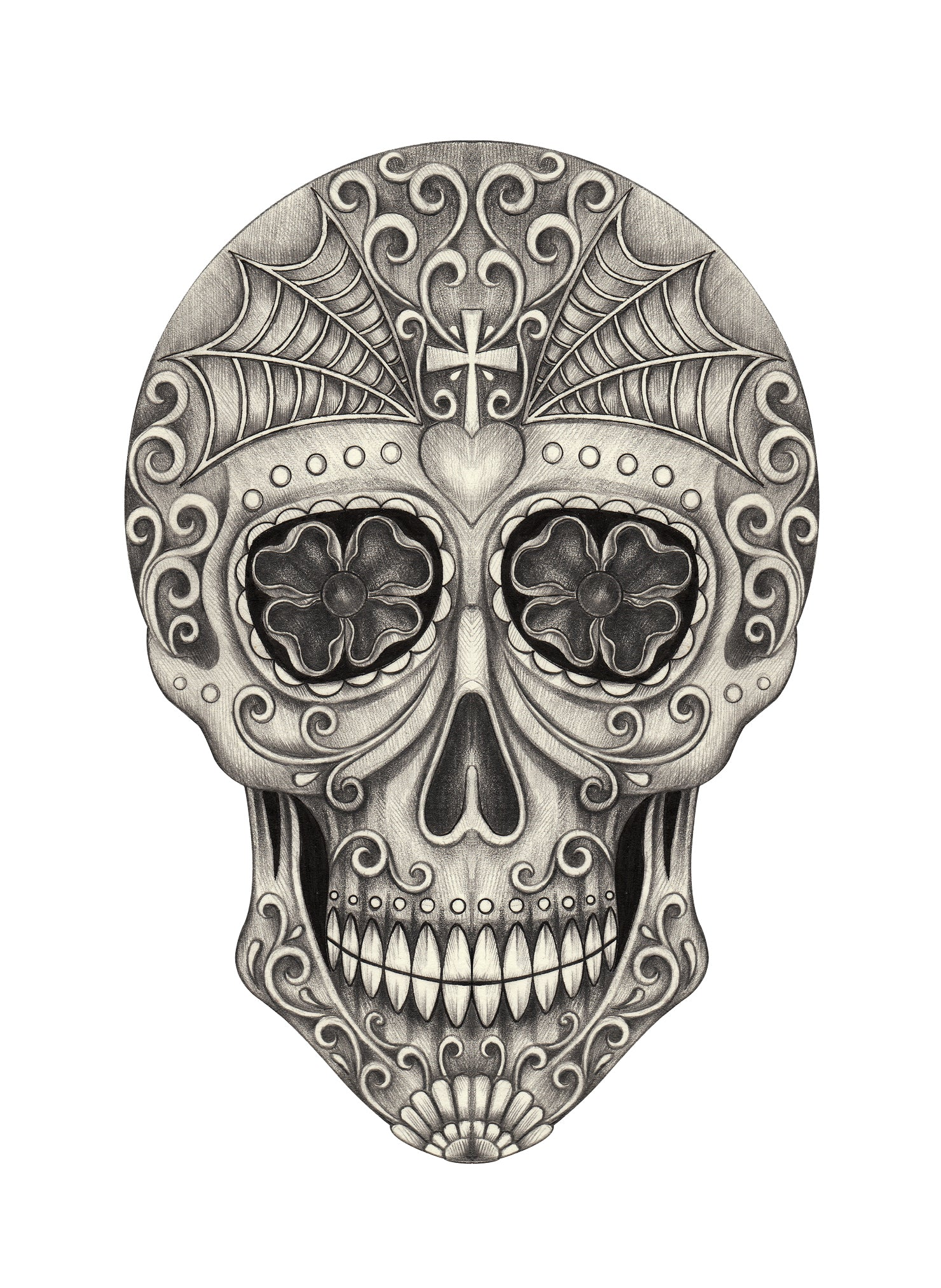 Pencil Sketch Floral Swirl Skull with Spider Web #2 Vinyl Decal Sticker