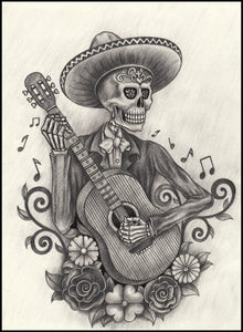 Pencil Sketch Mariachi Skeleton with Guitar Vinyl Decal Sticker