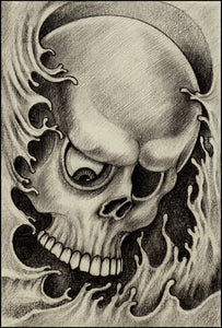 Pencil Sketch One Eyed Skull in Waves Portrait Vinyl Decal Sticker