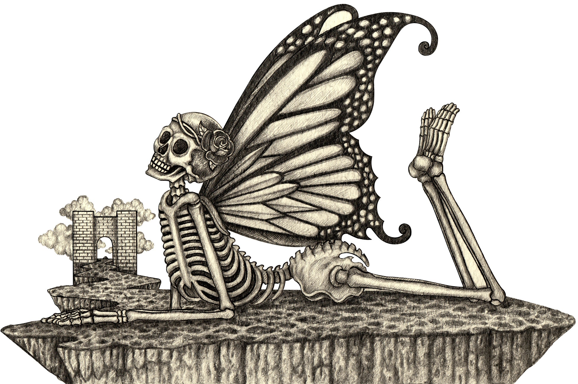 Pencil Sketch Skeleton with Fairy Butterfly Wings #1 Vinyl Decal Sticker