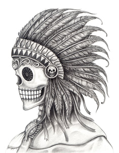 Pencil Sketch Skeleton with Feather Headdress #1 Vinyl Decal Sticker
