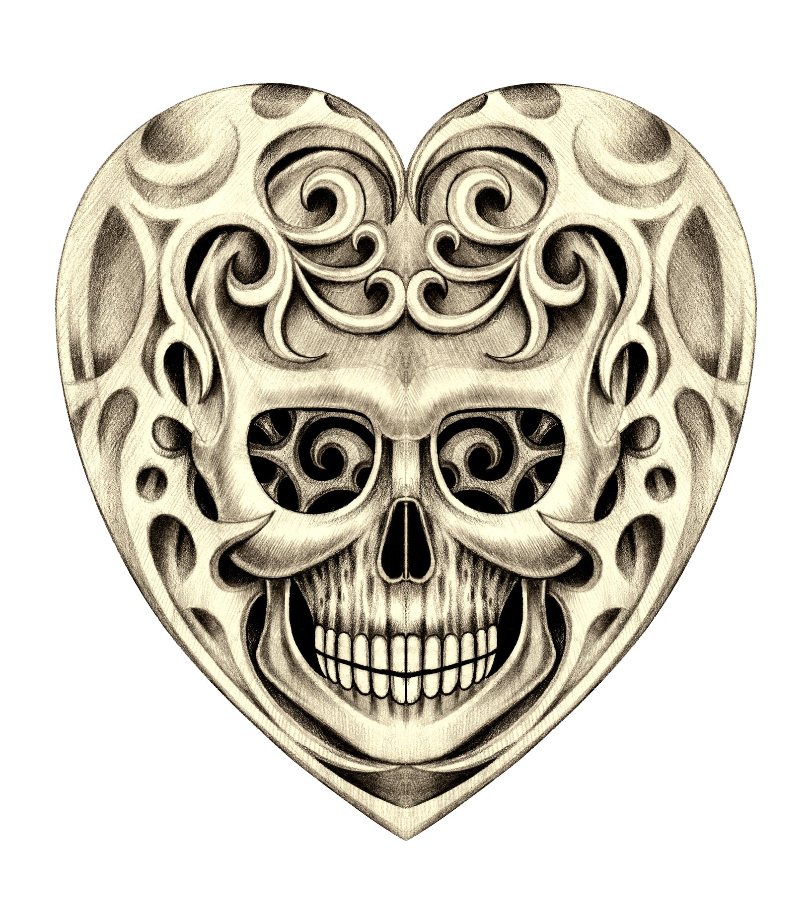 Pencil Sketch Skull in Swirl Stone Heart Vinyl Decal Sticker