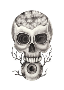 Pencil Sketch Skull on Eye Ball Vinyl Decal Sticker