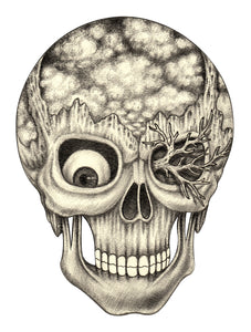 Pencil Sketch Skull with Cloud and Landscape Brain Vinyl Decal Sticker