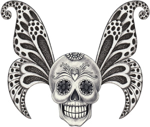 Pencil Sketch Skull with Fairy Wings Vinyl Decal Sticker
