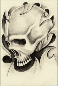 Pencil Sketch Skull with Wave Swirls #3 Vinyl Decal Sticker